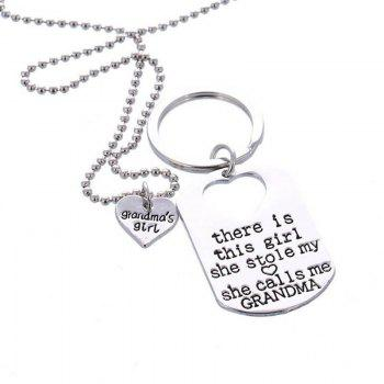 Fashion Necklace Key Ring - SILVER SILVER