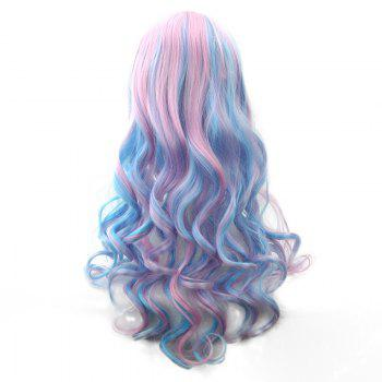 Blue Powder Gradient Section Long Curly Hair Anime Wig - BLUE/PINK