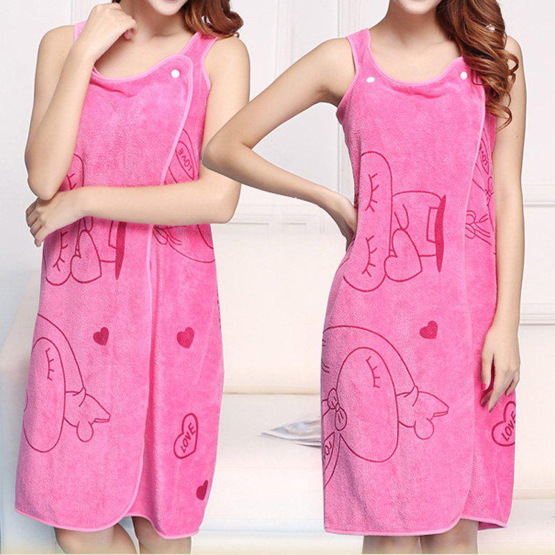 Bath Skirt Dreamy Cartoon Sweet Thick Water Absorbent Shower Towel - ROSE RED 80CM X 130CM