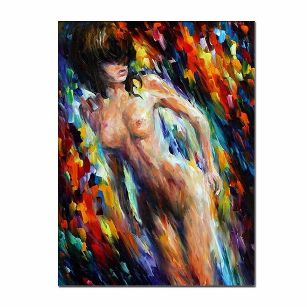 Hand Painted Abstract Nude Girl Figure Oil Painting on Canvas Wall Picture Room Decoration No Framed - COLORMIX 24 X 36 INCH (60CM X 90CM)
