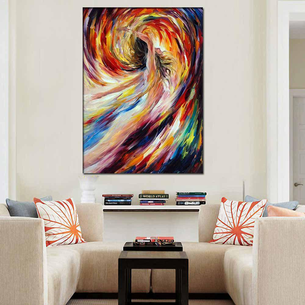 Hand Painted Abstract Figure Art Nude Girl Oil Painting Home Decoration - COLORMIX 24 X 36 INCH (60CM X 90CM)