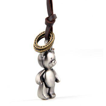 Europe and The United States Trendy Casual Wild Long Cute Bear Leather Rope Necklace - SILVER