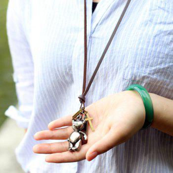 Europe and The United States Trendy Casual Wild Long Cute Bear Leather Rope Necklace - COPPER COLOR