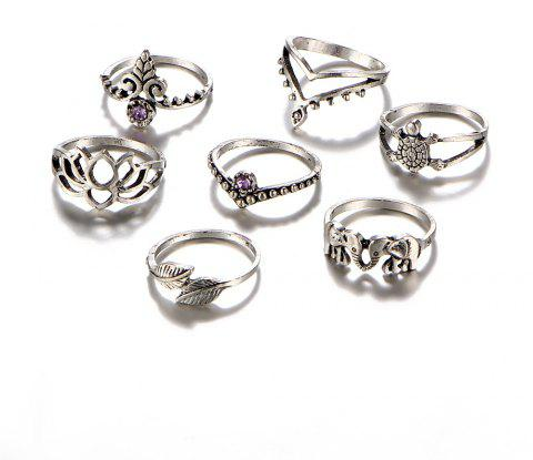 7PCS Ladies Fashion Vintage Joint Ring Set - SILVER RESIZEABLE