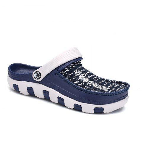 Summer Men's Flip Flops Mesh Uppers Beach Shoes - BLUE 41
