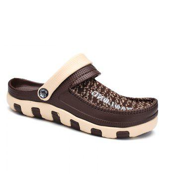 Summer Men's Flip Flops Mesh Uppers Beach Shoes - BROWN BROWN