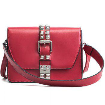 Simple Fashion Rivets Small Bag Shoulder Messenger Small Square Package - RED RED