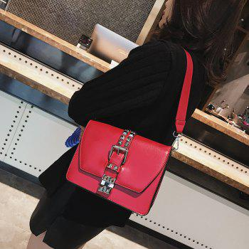 Simple Fashion Rivets Small Bag Shoulder Messenger Small Square Package - RED