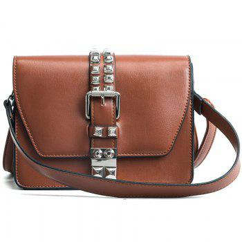 Simple Fashion Rivets Small Bag Shoulder Messenger Small Square Package - BROWN BROWN