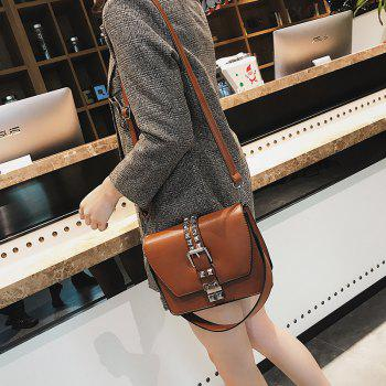Simple Fashion Rivets Small Bag Shoulder Messenger Small Square Package - BROWN