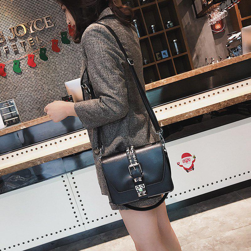 Simple Fashion Rivets Small Bag Shoulder Messenger Small Square Package - BLACK