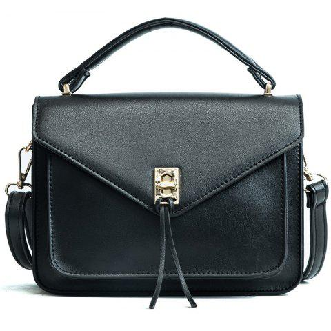 Wild Fashion Small Square Bag Handbag Wide Shoulder Strap Messenger Bag - BLACK