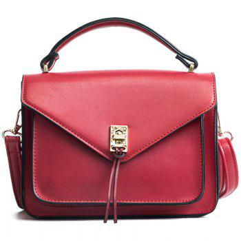 Wild Fashion Small Square Bag Handbag Wide Shoulder Strap Messenger Bag - RED RED