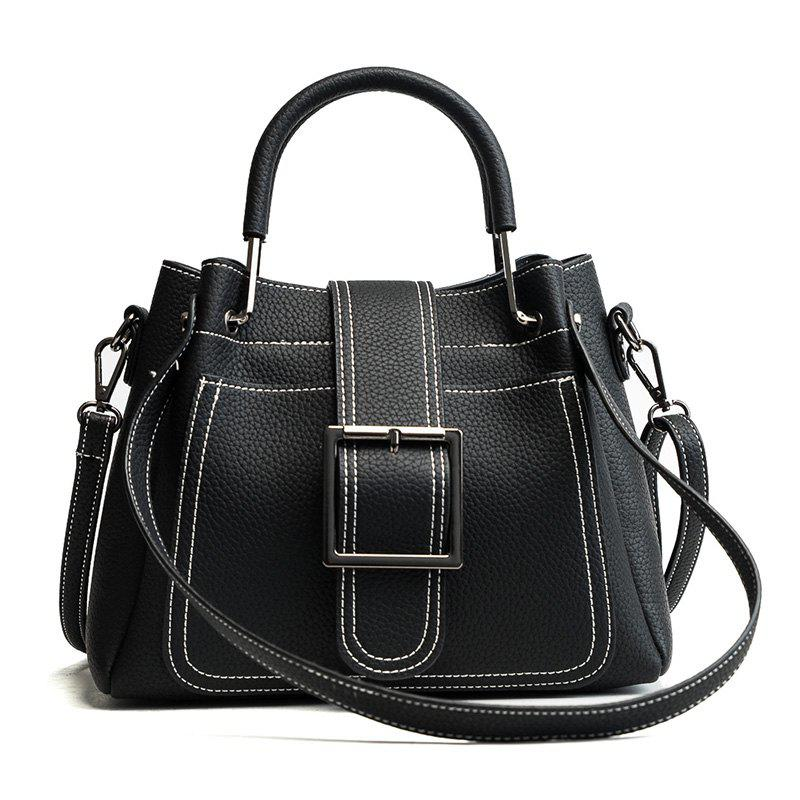 Simple and Fashionable Wild Messenger Bucket Handbag Portable Shoulder Bag - BLACK