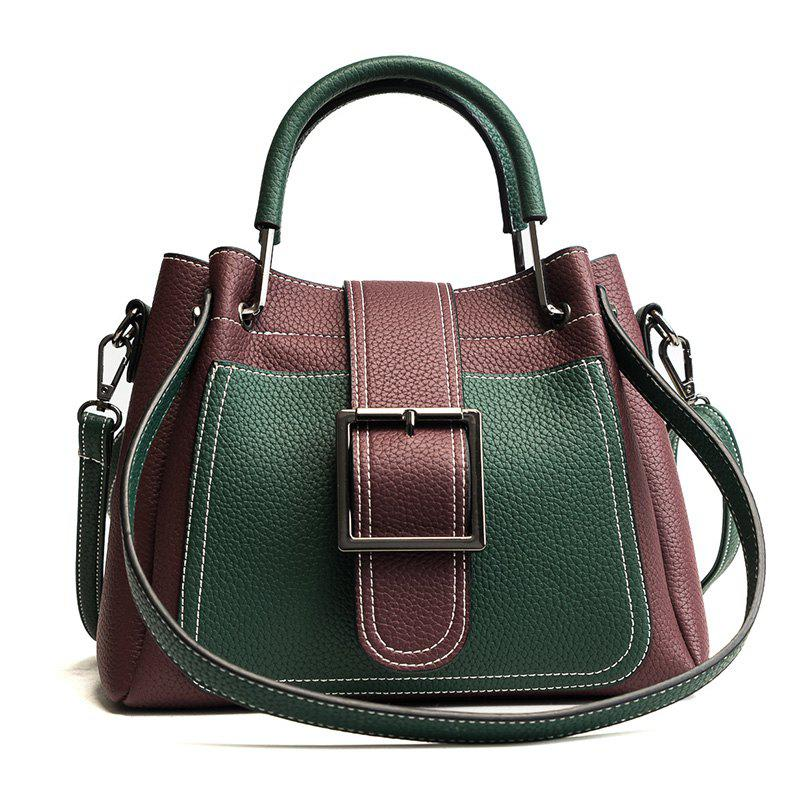 Simple and Fashionable Wild Messenger Bucket Handbag Portable Shoulder Bag - BURGUNDY