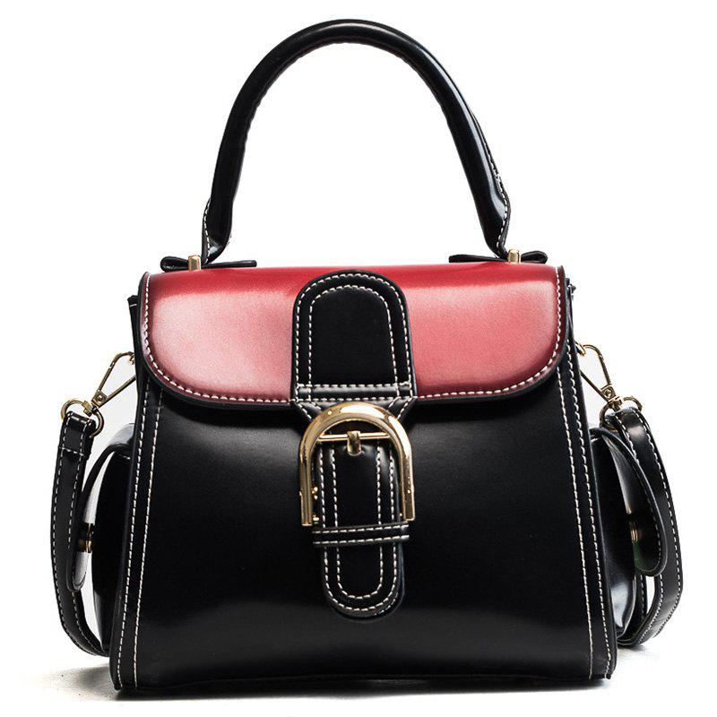 Wild Fashion Horseshoe Buckle Shoulder Messenger Handbag - BLACK