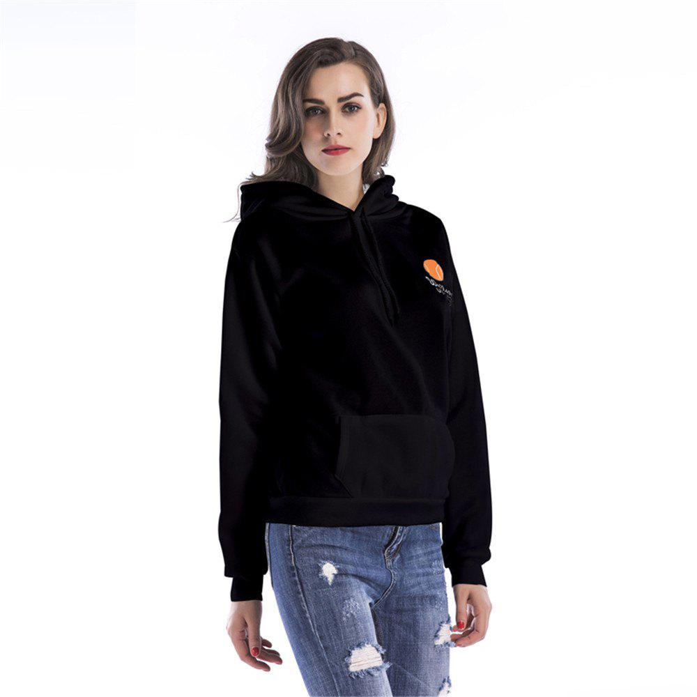 Drawstring Printed Long Sleeve Hoodie - BLACK S