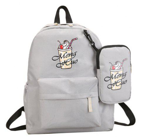 Ice Cream Printing Nylon Travel Backpack - GRAY