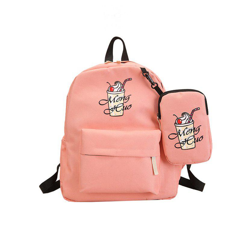 Ice Cream Printing Nylon Travel Backpack - PINK