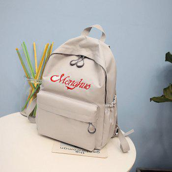 Embroidery Letters  Canvas Backpack - GRAY