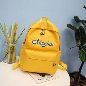 Embroidery Letters  Canvas Backpack - MAIZE