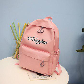 Embroidery Letters  Canvas Backpack - PINK