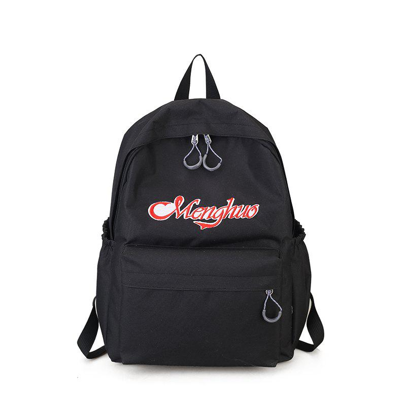 Embroidery Letters  Canvas Backpack - BLACK
