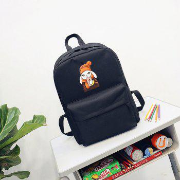 Menghuo 2018 Simple Canvas Backpack Students School Bag Women Girl Rucksack Mochila - BLACK