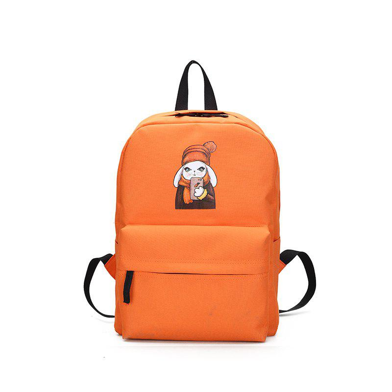 Menghuo 2018 Simple Canvas Backpack Students School Bag Women Girl Rucksack Mochila - ORANGE