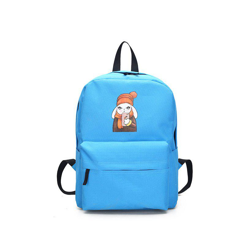 Menghuo 2018 Simple Canvas Backpack Students School Bag Women Girl Rucksack Mochila - BLUE