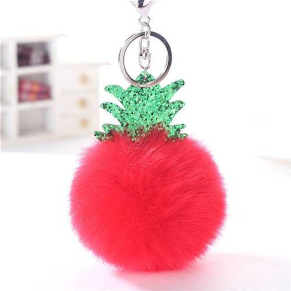 Fashion Small Pineapple Cartoon Plush Pendant New Key Chain Toys - RED