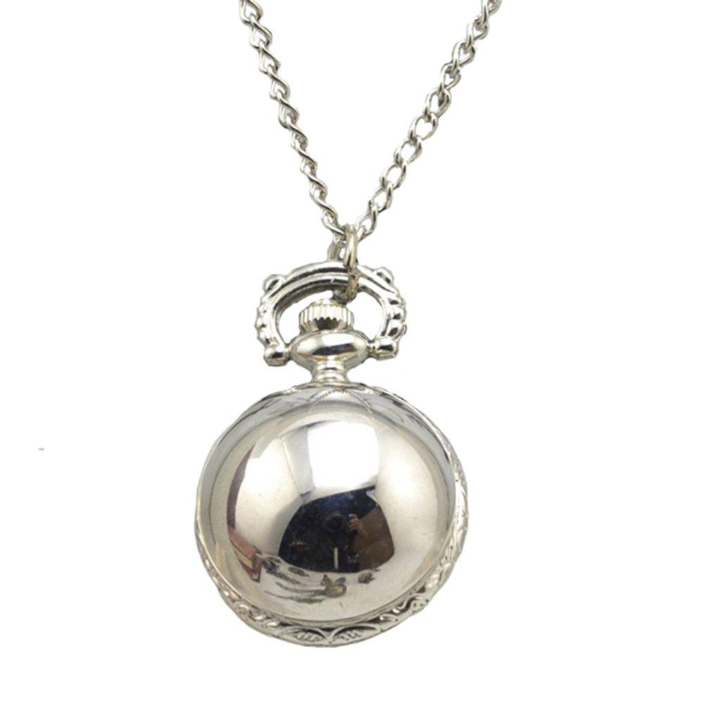 Fashion Titanium Steel Retro Quartz Necklace Pocket Watch - SILVER
