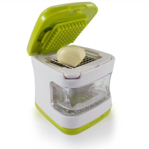 Garlic Press Very Sharp Stainless Steel Blades, Inbuilt Clear Plastic Tray, Green - IVY