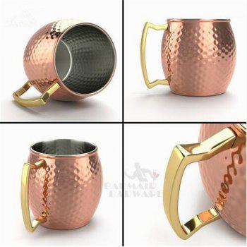 550ML 304 Stainless Steel Drum Type Moscow Mug Hammered Copper Plated Beer Mug Beer Cup Water Glass Drinkware - COPPER COLOR