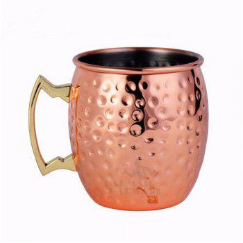 550ML 304 Stainless Steel Drum Type Moscow Mug Hammered Copper Plated Beer Mug Beer Cup Water Glass Drinkware - COPPER COLOR COPPER COLOR