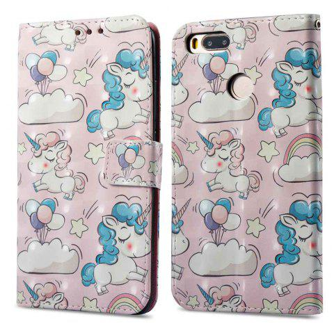 Case For Xiaomi 5X Pink Pony 3D Painted PU Leather Phone Case - COLORMIX