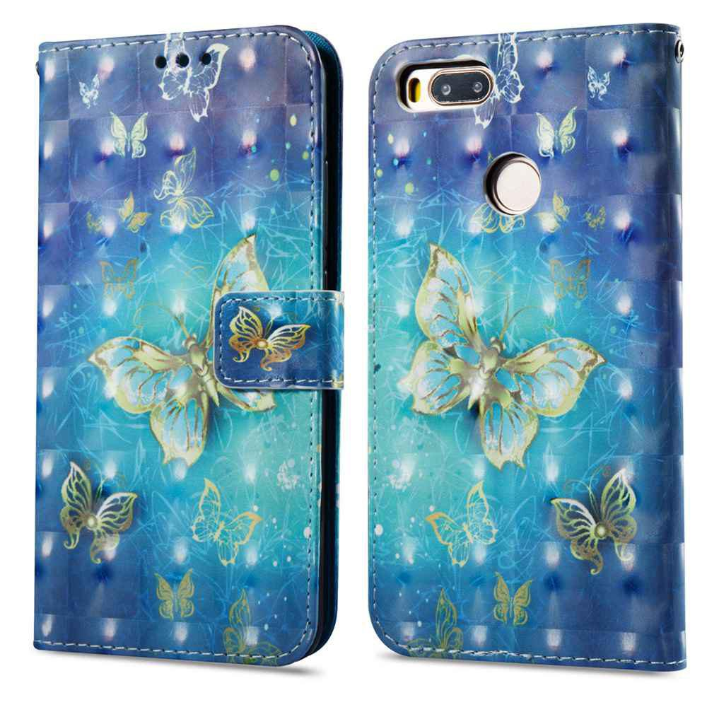 Case For Xiaomi 5X Gold Butterfly 3D Painted PU Leather Phone Case - COLORMIX
