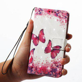 Case For Xiaomi 5X Rose Red Butterfly 3D Painted PU Leather Phone Case - COLORMIX