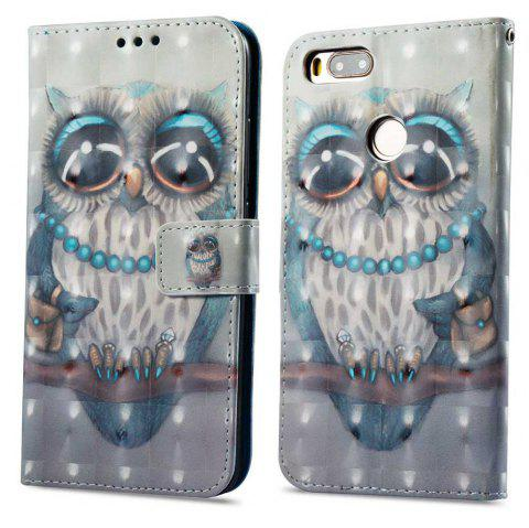 Case For Xiaomi 5X Gray Owl 3D Painted PU Leather Phone Case - COLORMIX