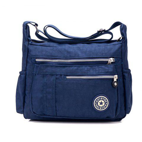 Washed Nylon Fabric Inclined Shoulder Bag - DEEP BLUE