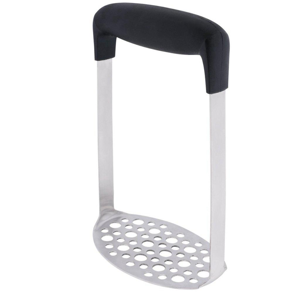Stainless Steel Potato Masher with Broad Ergonomic Horizontal Handle Fine Grid Mashing Plate - BLACK