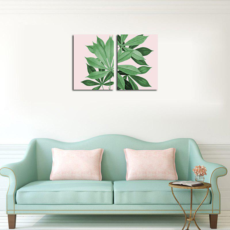 QiaoJiaHuaYuan Frame Canvas Without Frame Canvas Living Room Sofa background Two Pieces of Leaf Decorative Hanging Paint - COLORMIX