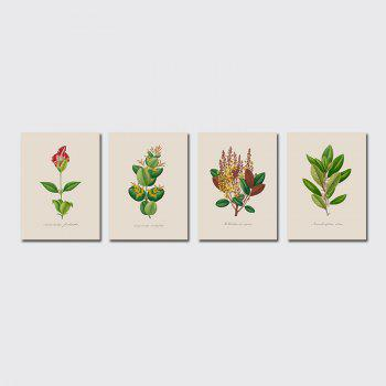 QiaoJiaHuaYuan No Frame Canvas of the Nordic Living Room Sofa Background Four Pieces of Decorative Painting Plant Leaves - COLORMIX COLORMIX