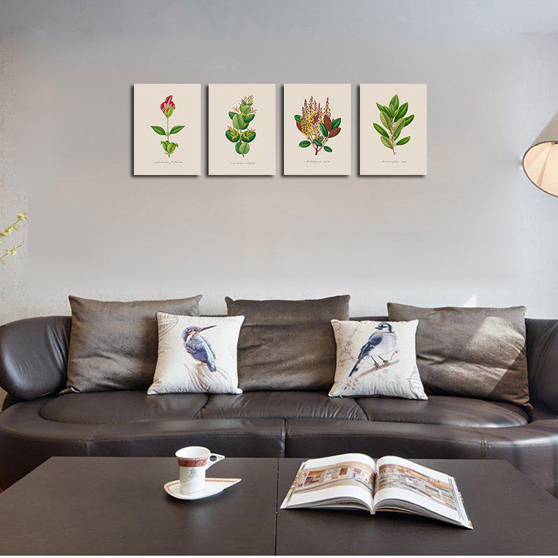 QiaoJiaHuaYuan No Frame Canvas of the Nordic Living Room Sofa Background Four Pieces of Decorative Painting Plant Leaves - COLORMIX