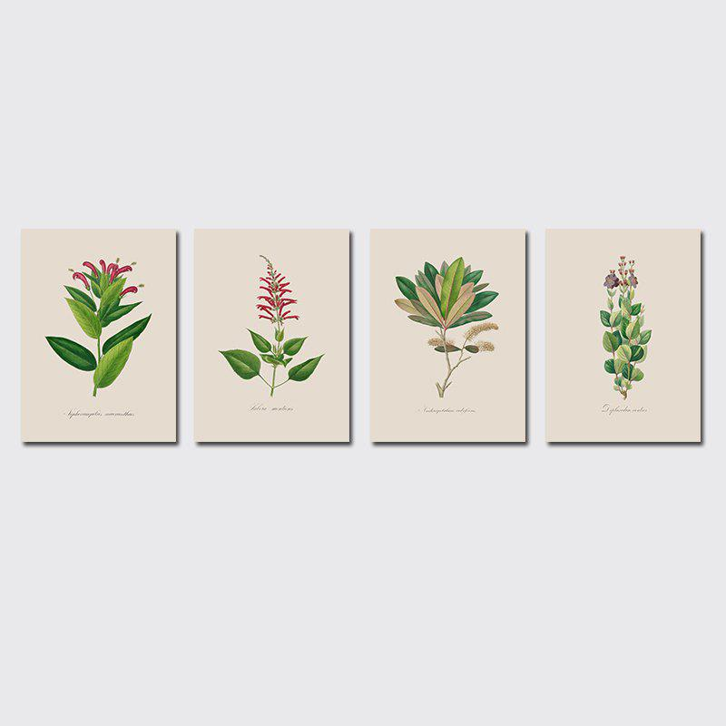 QiaoJiaHuaYuan Frame Canvas Without Frame Canvas Living Room Sofa Background Plant Leaves Four Pieces of Decorative Hang - COLORMIX