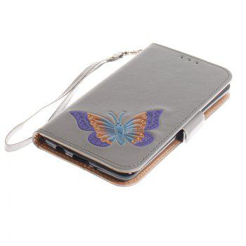 Cover Case for LG LV3 Make Butterfly PU+TPU Leather with Stand and Card Slots Magnetic Closure - GRAY