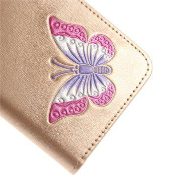 Cover Case for LG LV3 Make Butterfly PU+TPU Leather with Stand and Card Slots Magnetic Closure - GOLDEN