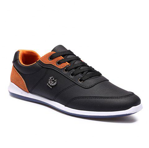 Men's Fashion Splicing and PU Leather Design Casual Shoes - BLACK 42