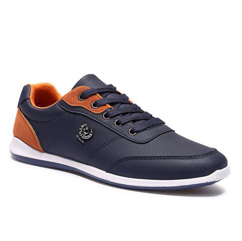 Men's Fashion Splicing and PU Leather Design Casual Shoes - DEEPBLUE 43