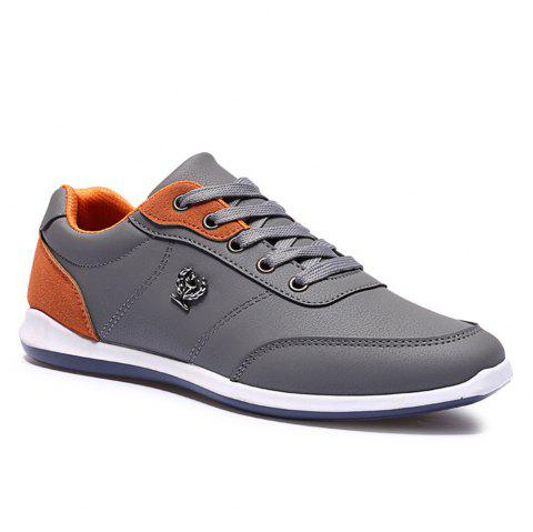 Men's Fashion Splicing and PU Leather Design Casual Shoes - GRAY 43